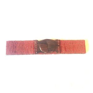Anthropologie Beaded Stretch Belt w/ Wooden Buckle